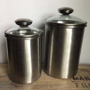 Stainless steel & glass canisters set of 2